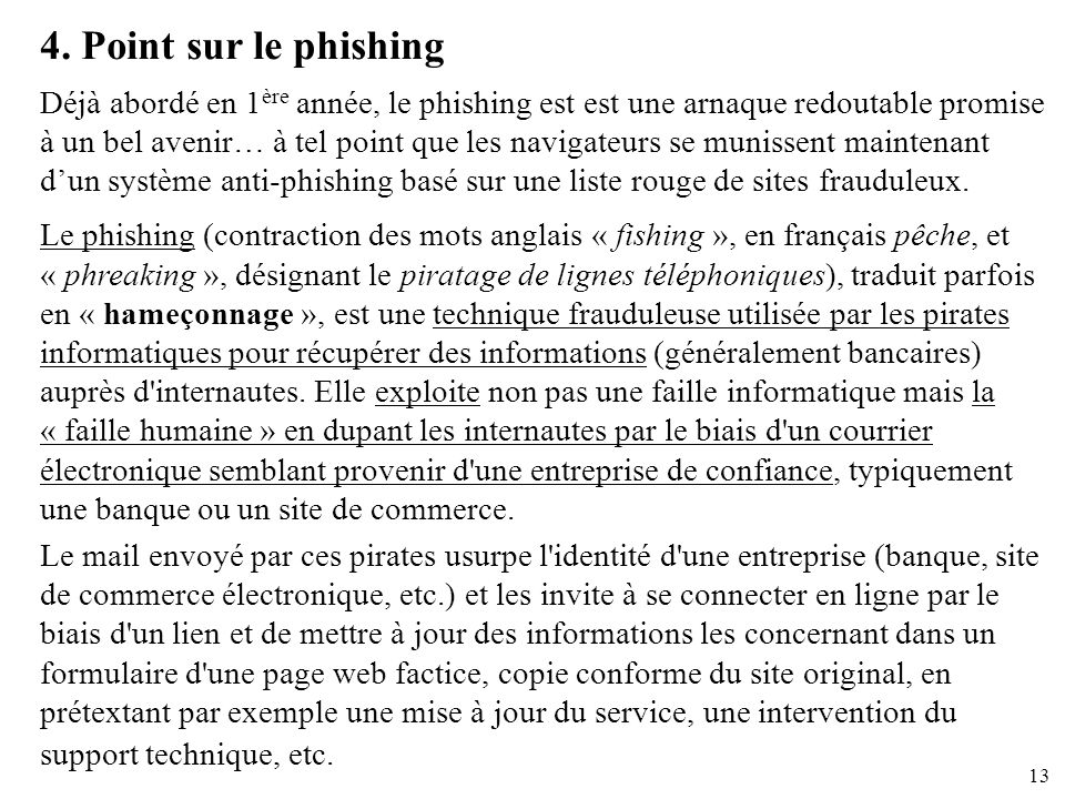 4. Point sur le phishing