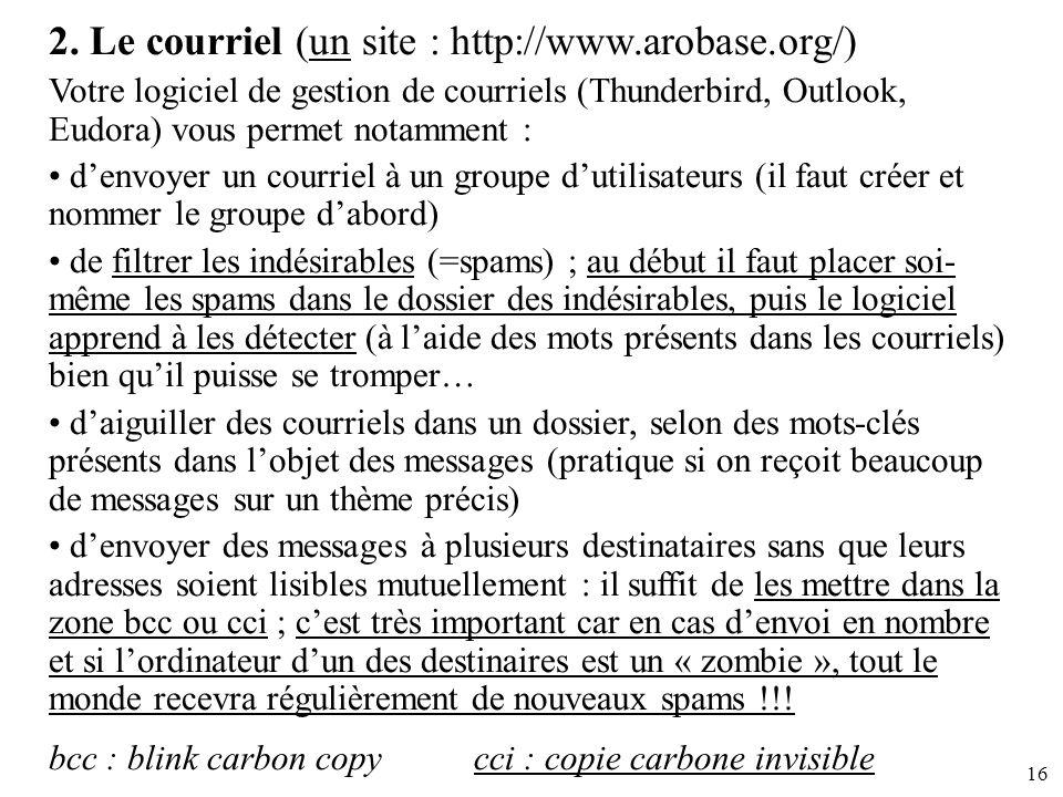 2. Le courriel (un site : http://www.arobase.org/)