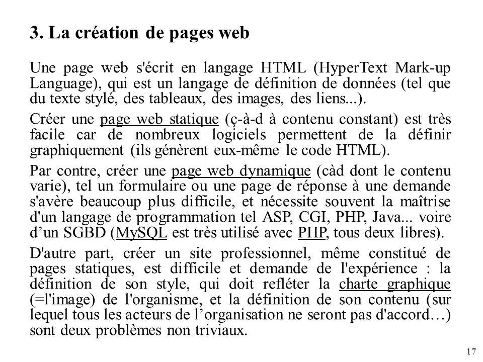 3. La création de pages web