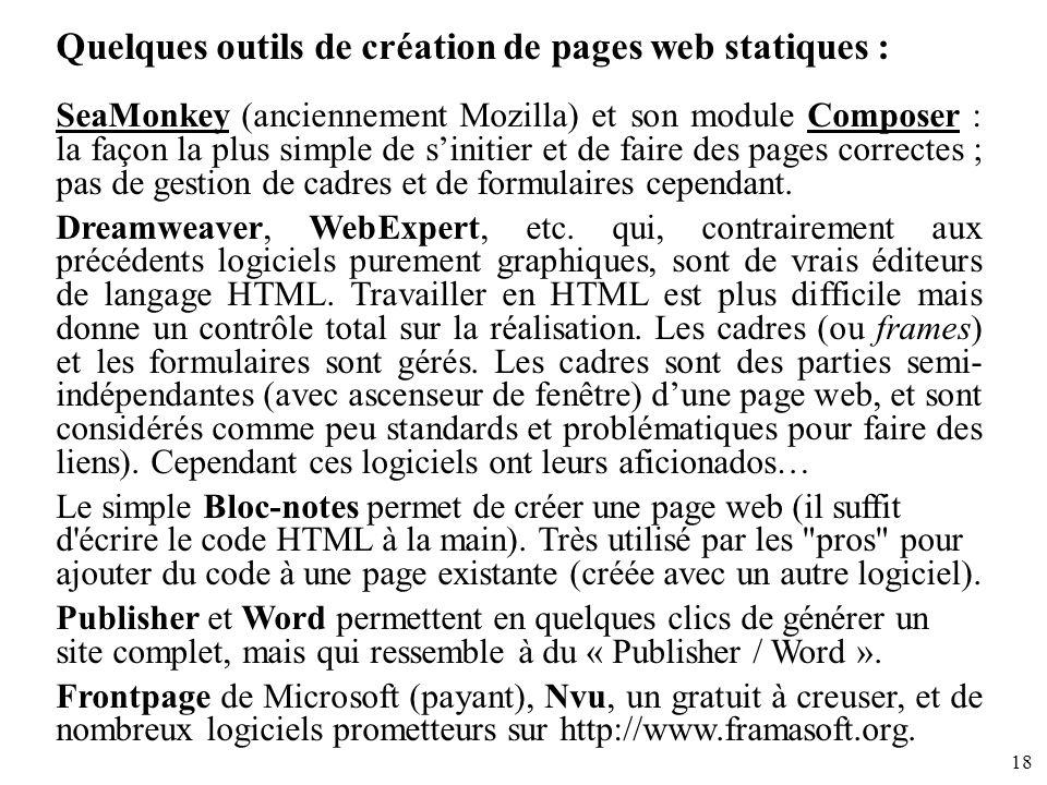 Quelques outils de création de pages web statiques :