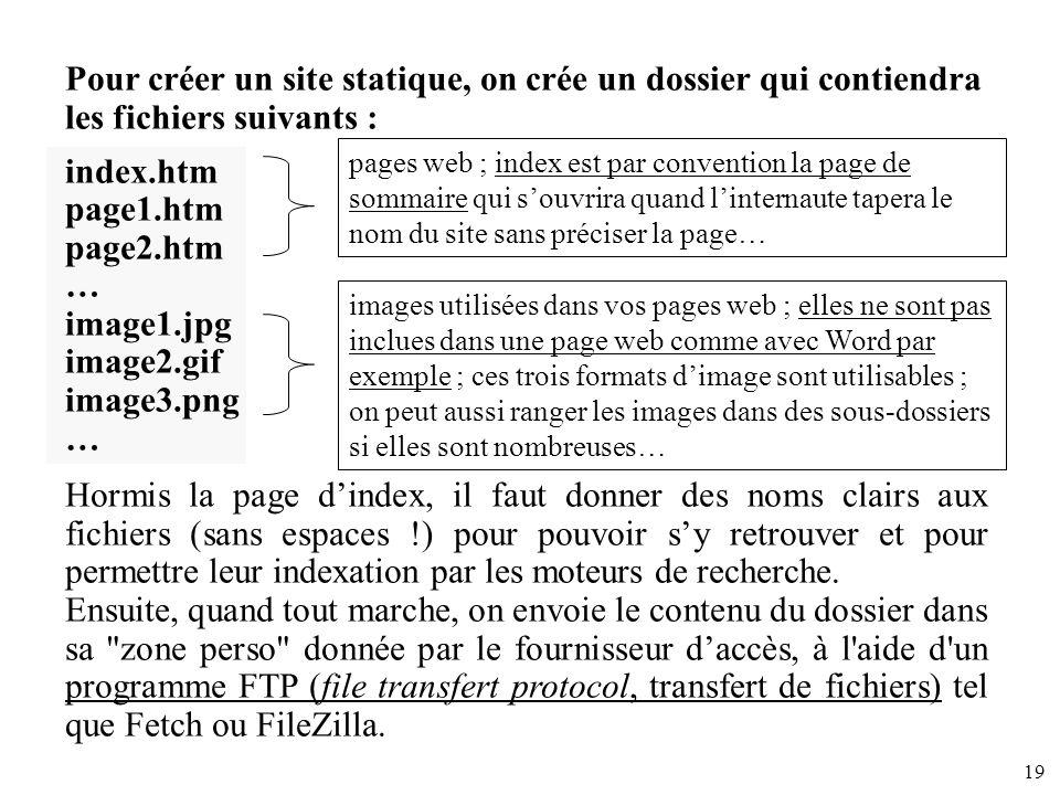 Pour créer un site statique, on crée un dossier qui contiendra les fichiers suivants :
