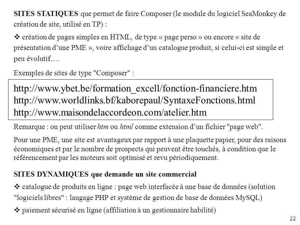 SITES STATIQUES que permet de faire Composer (le module du logiciel SeaMonkey de création de site, utilisé en TP) :