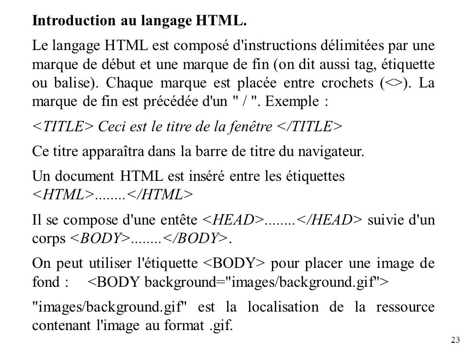 Introduction au langage HTML.