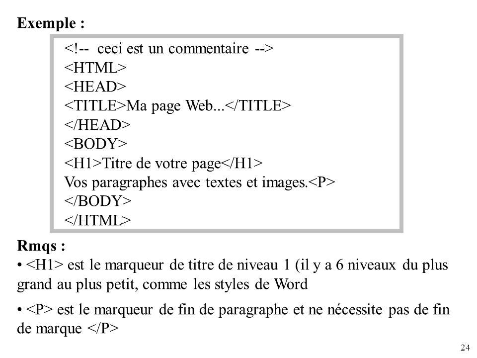 Exemple : <!-- ceci est un commentaire --> <HTML> <HEAD> <TITLE>Ma page Web...</TITLE> </HEAD>