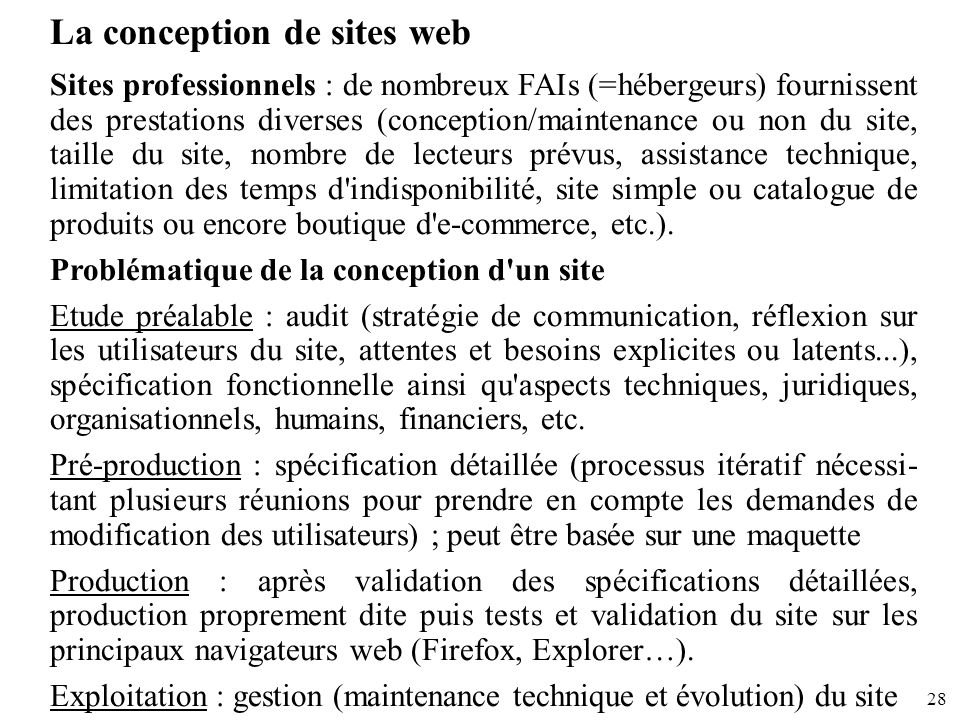 La conception de sites web