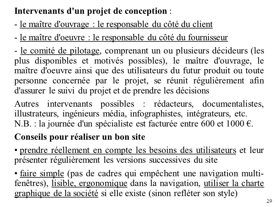 Intervenants d un projet de conception :