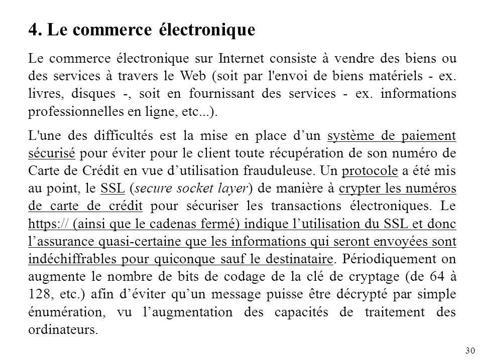 4. Le commerce électronique