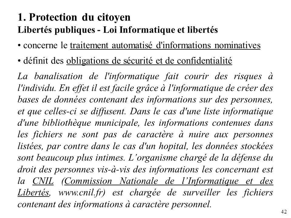 1. Protection du citoyen Libertés publiques - Loi Informatique et libertés. concerne le traitement automatisé d informations nominatives.