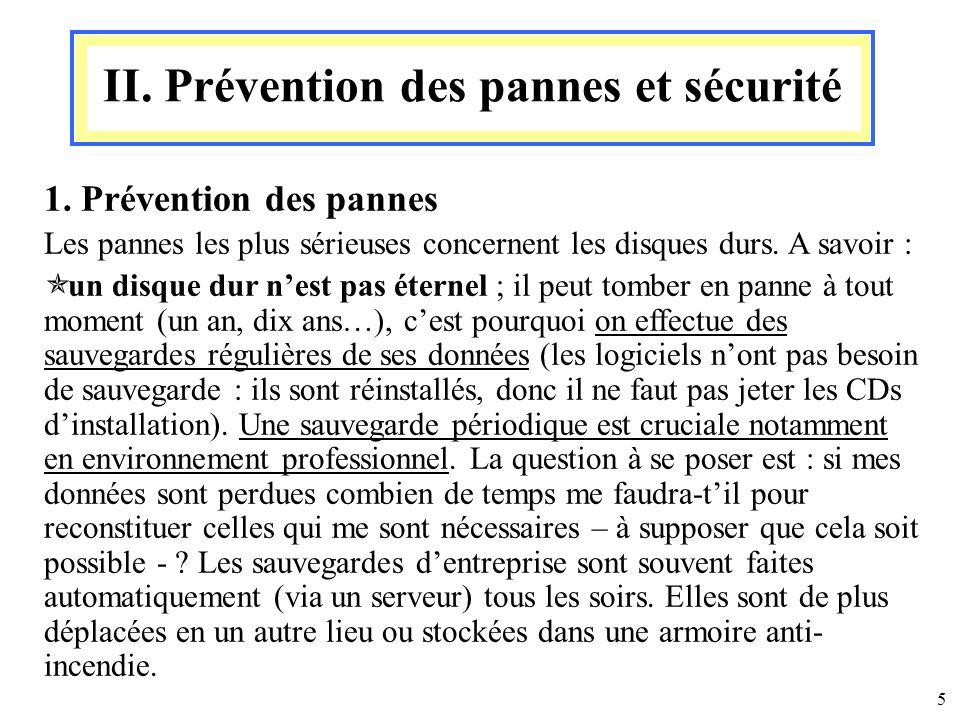 II. Prévention des pannes et sécurité