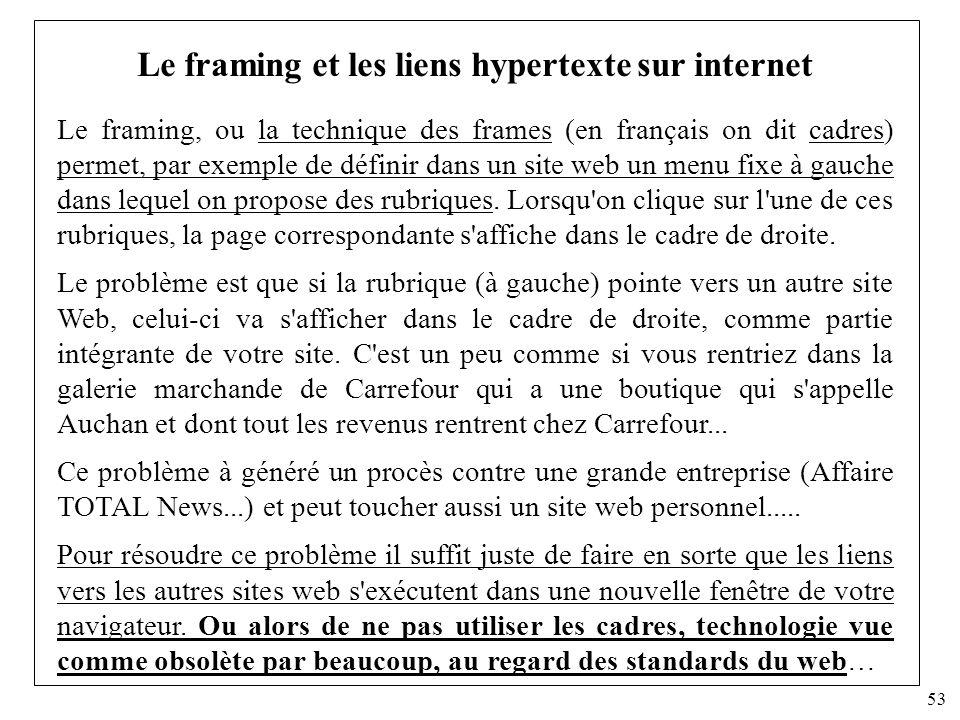 Le framing et les liens hypertexte sur internet