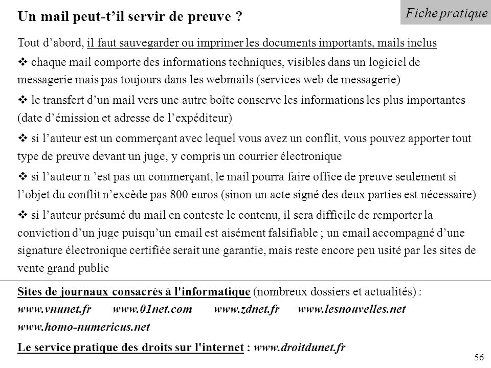 Un mail peut-t'il servir de preuve
