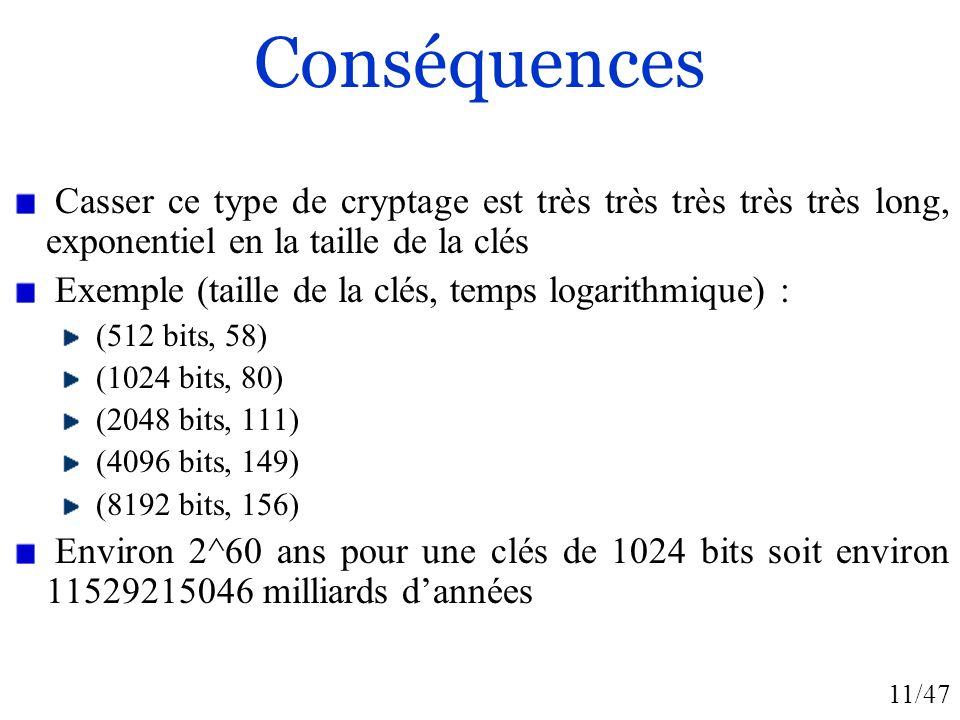 Conséquences Casser ce type de cryptage est très très très très très long, exponentiel en la taille de la clés.