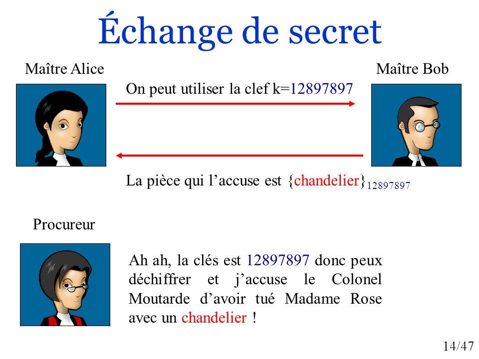 Échange de secret Maître Alice Maître Bob