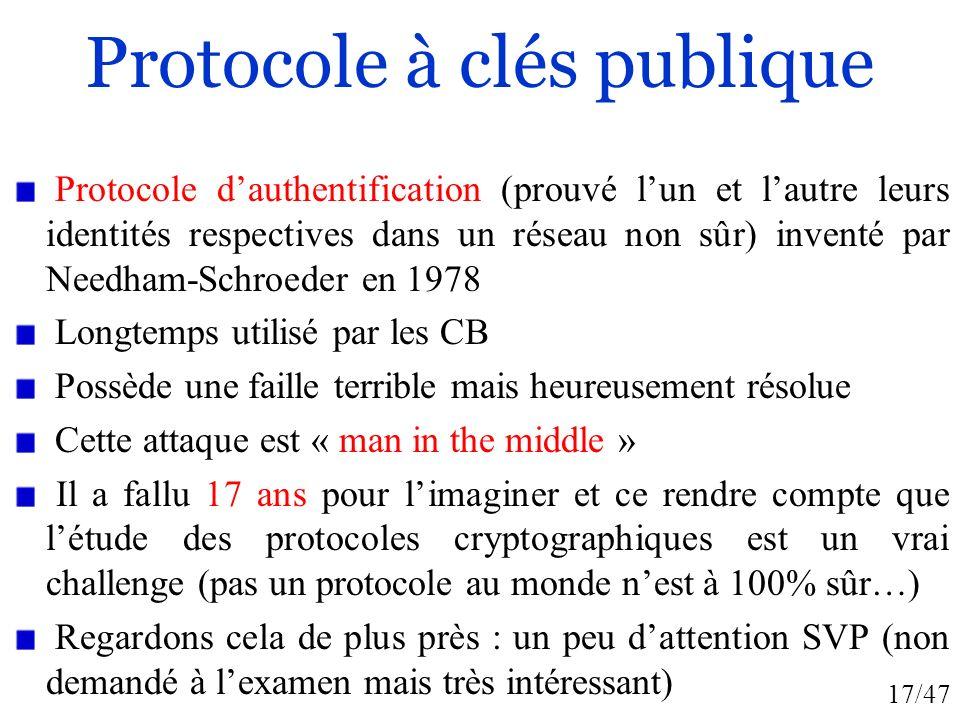 Protocole à clés publique