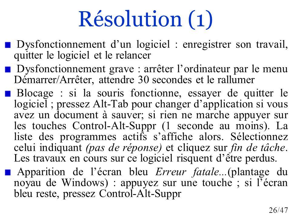 Résolution (1) Dysfonctionnement d'un logiciel : enregistrer son travail, quitter le logiciel et le relancer.