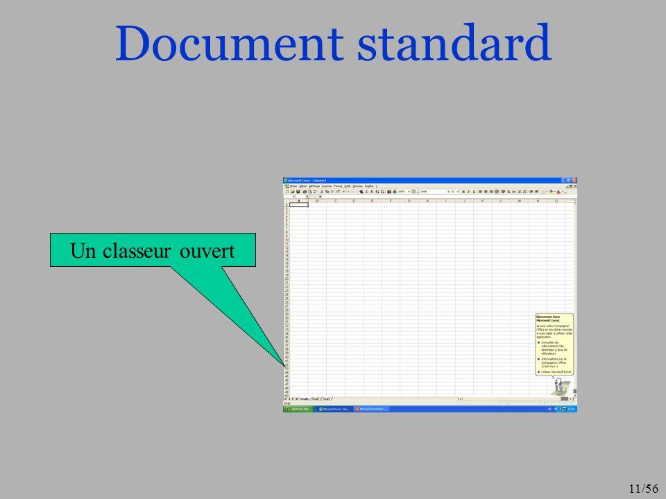 Document standard Un classeur ouvert