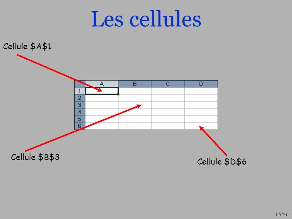 Les cellules Cellule $A$1 Cellule $B$3 Cellule $D$6
