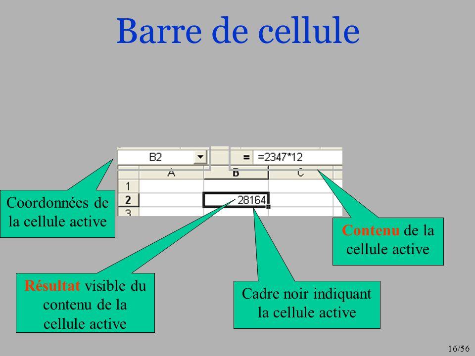 Barre de cellule Coordonnées de la cellule active