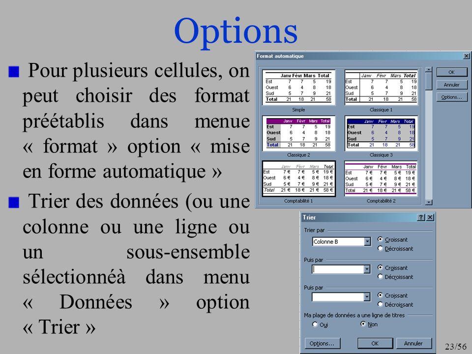 OptionsPour plusieurs cellules, on peut choisir des format préétablis dans menue « format » option « mise en forme automatique »
