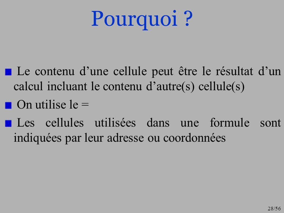 Pourquoi Le contenu d'une cellule peut être le résultat d'un calcul incluant le contenu d'autre(s) cellule(s)