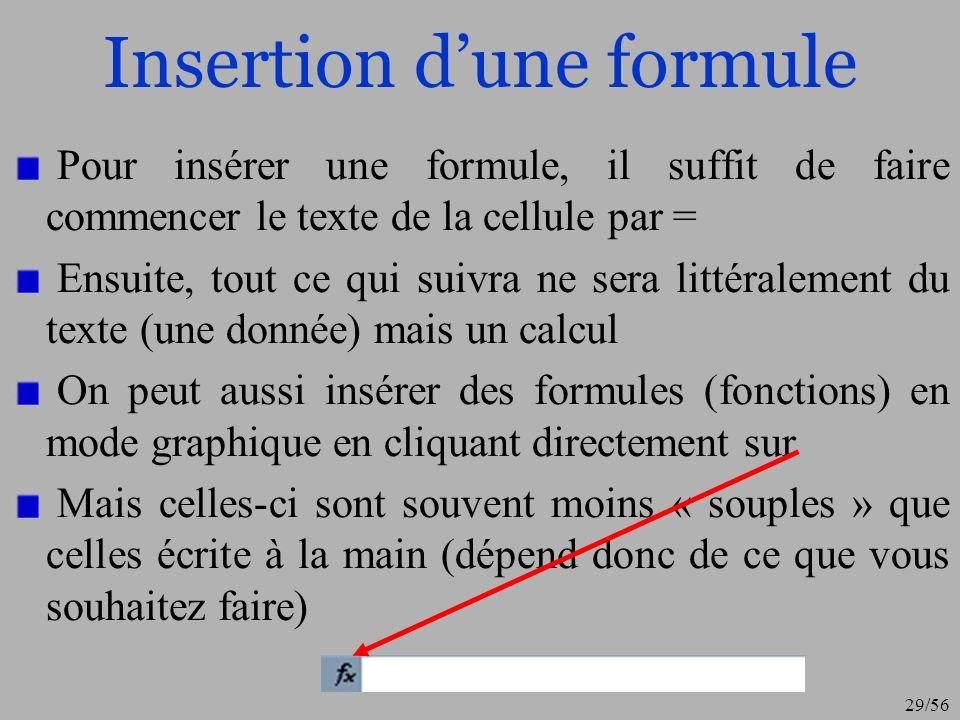 Insertion d'une formule