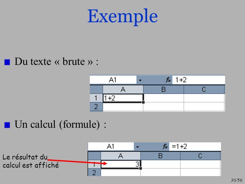 Exemple Du texte « brute » : Un calcul (formule) :