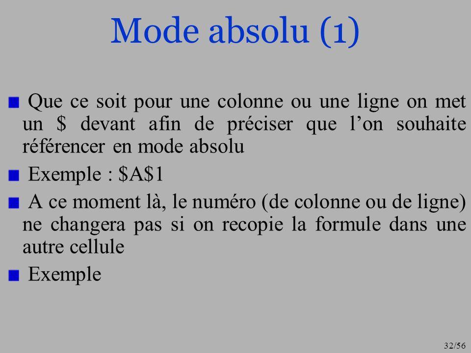 Mode absolu (1)Que ce soit pour une colonne ou une ligne on met un $ devant afin de préciser que l'on souhaite référencer en mode absolu.