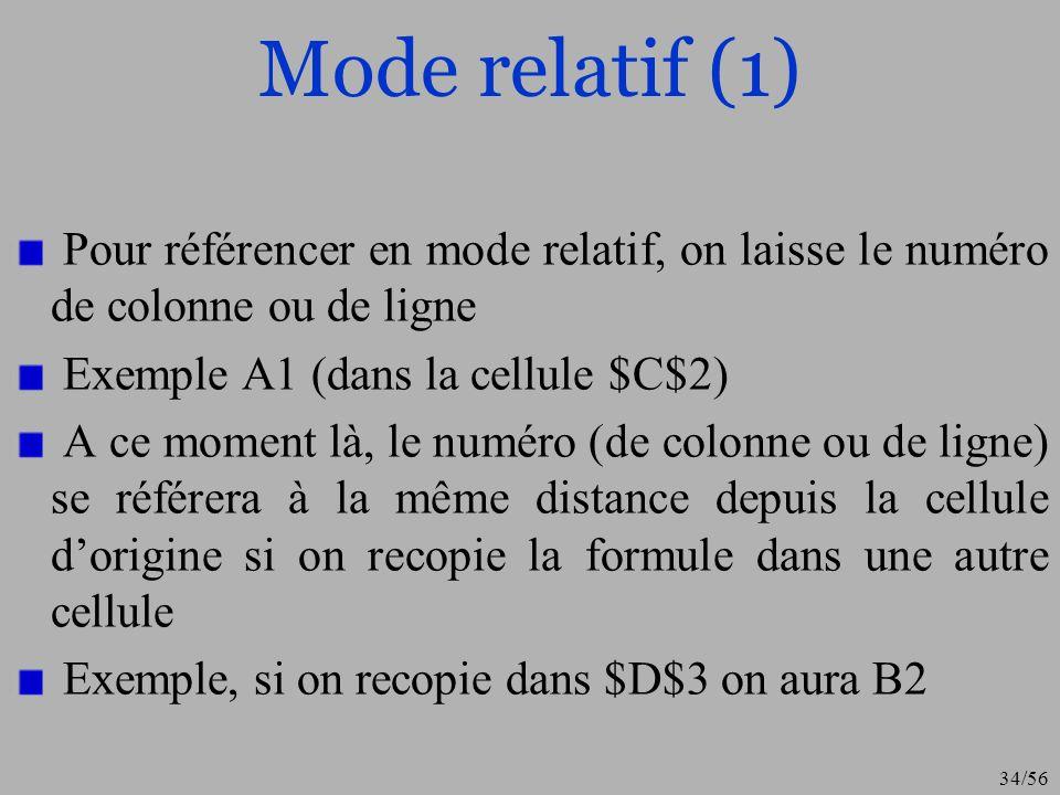 Mode relatif (1) Pour référencer en mode relatif, on laisse le numéro de colonne ou de ligne. Exemple A1 (dans la cellule $C$2)