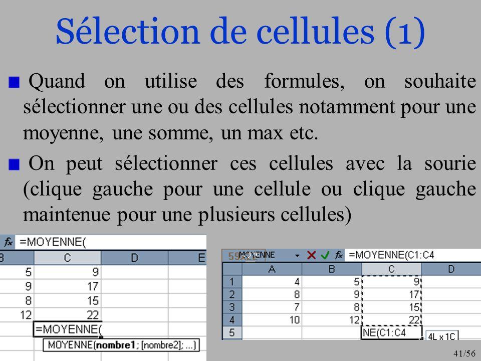Sélection de cellules (1)