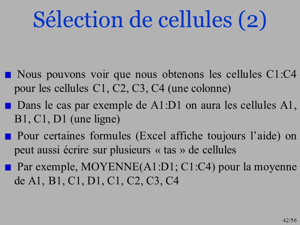 Sélection de cellules (2)