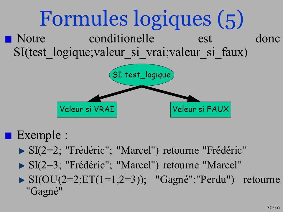 Formules logiques (5) Notre conditionelle est donc SI(test_logique;valeur_si_vrai;valeur_si_faux) Exemple :