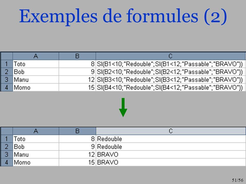 Exemples de formules (2)