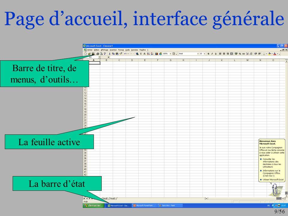 Page d'accueil, interface générale