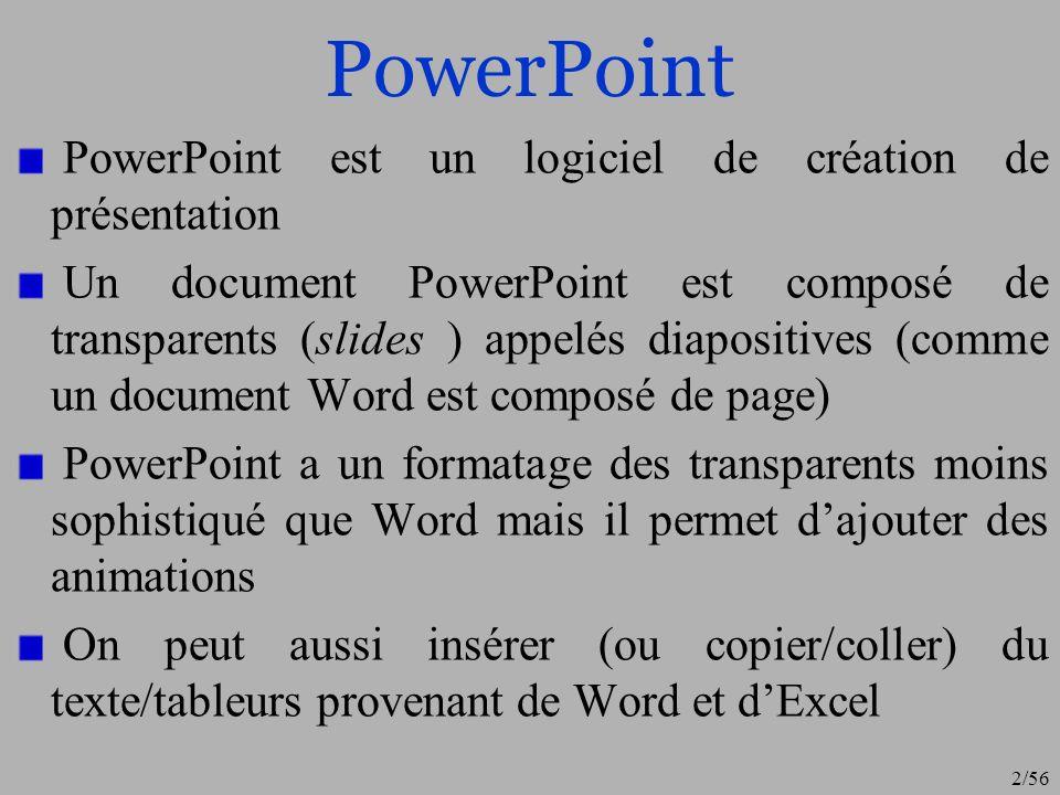 PowerPoint PowerPoint est un logiciel de création de présentation