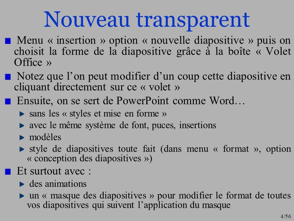 Nouveau transparentMenu « insertion » option « nouvelle diapositive » puis on choisit la forme de la diapositive grâce à la boîte « Volet Office »