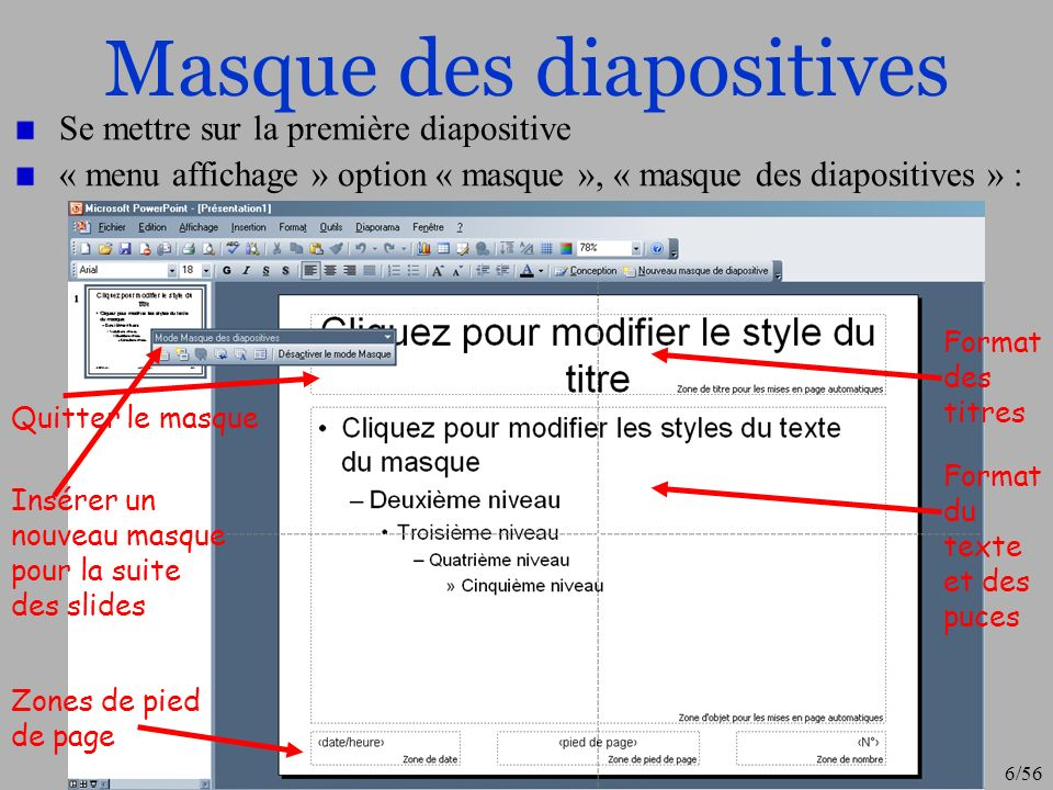 Masque des diapositives