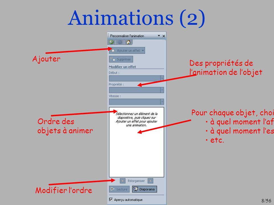 Animations (2) Ajouter Des propriétés de l'animation de l'objet