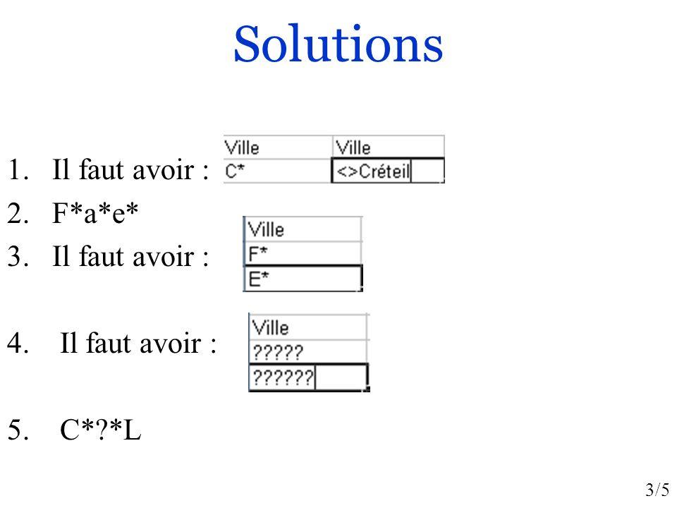 Solutions Il faut avoir : F*a*e* C* *L