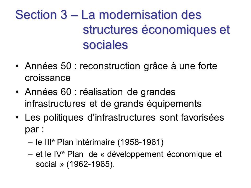 Section 3 – La modernisation des structures économiques et sociales