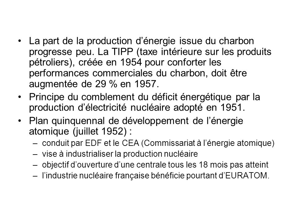 La part de la production d'énergie issue du charbon progresse peu