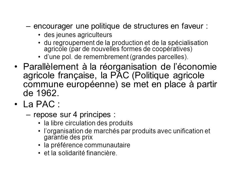encourager une politique de structures en faveur :