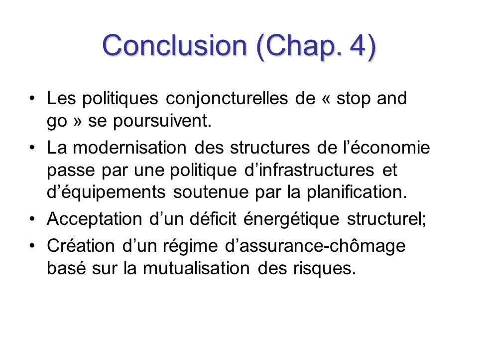Conclusion (Chap. 4) Les politiques conjoncturelles de « stop and go » se poursuivent.