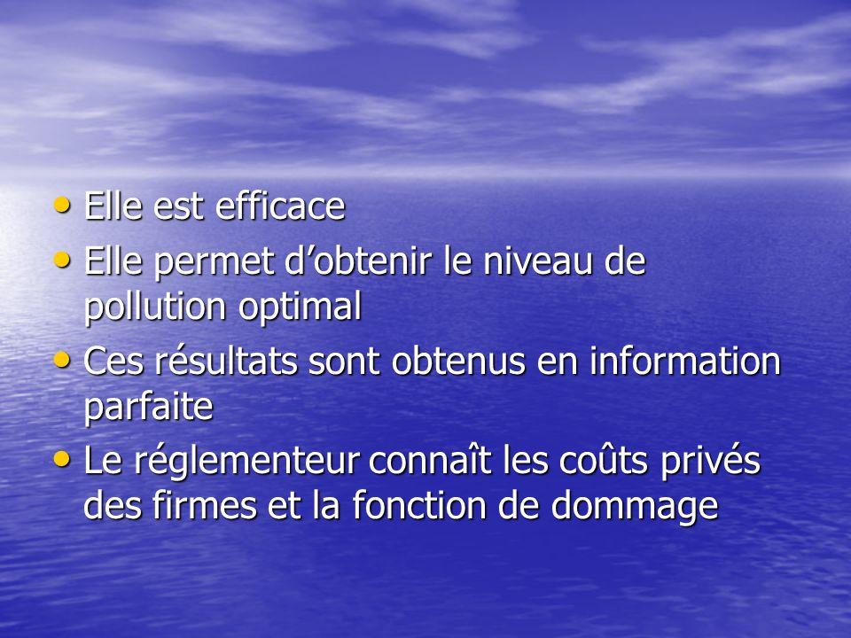 Elle est efficace Elle permet d'obtenir le niveau de pollution optimal. Ces résultats sont obtenus en information parfaite.