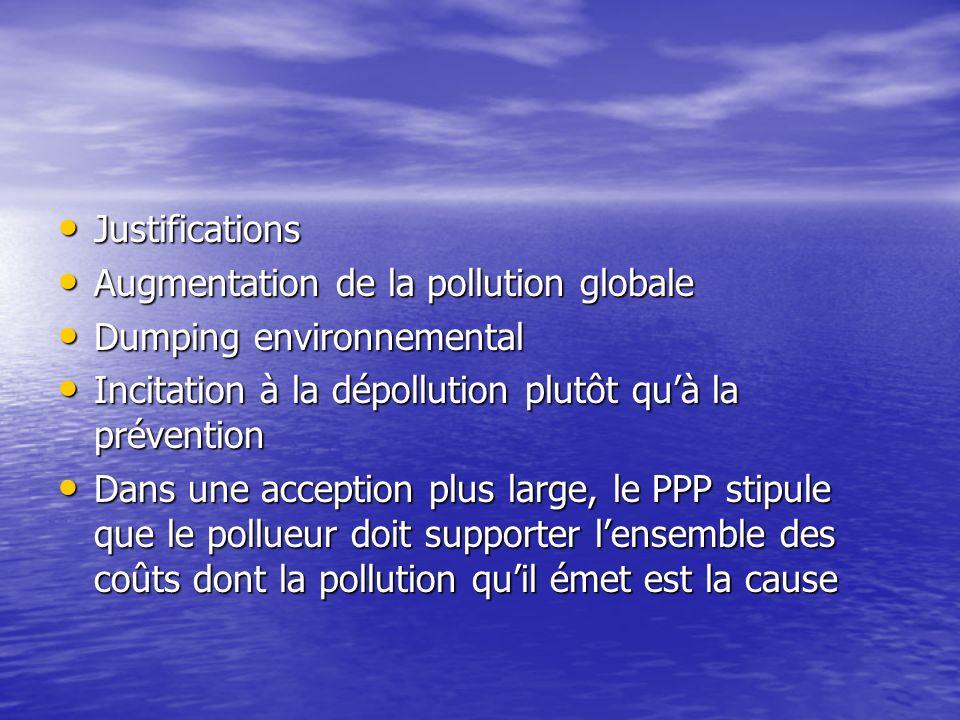 Justifications Augmentation de la pollution globale. Dumping environnemental. Incitation à la dépollution plutôt qu'à la prévention.