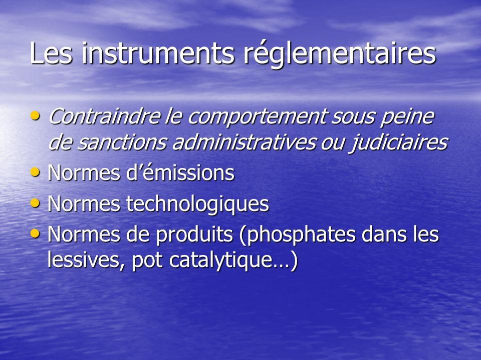 Les instruments réglementaires