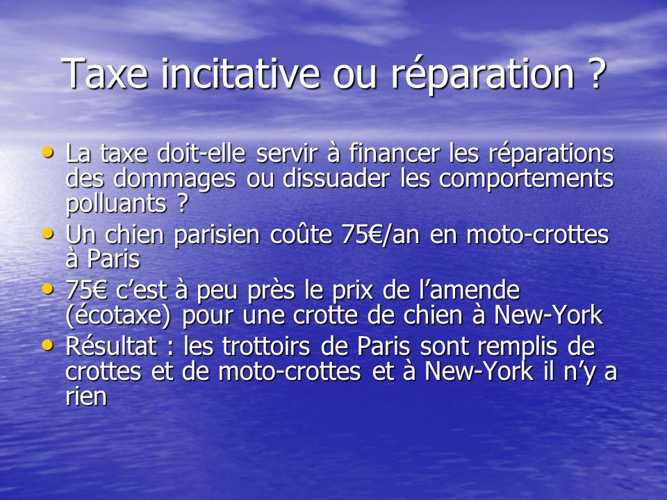 Taxe incitative ou réparation