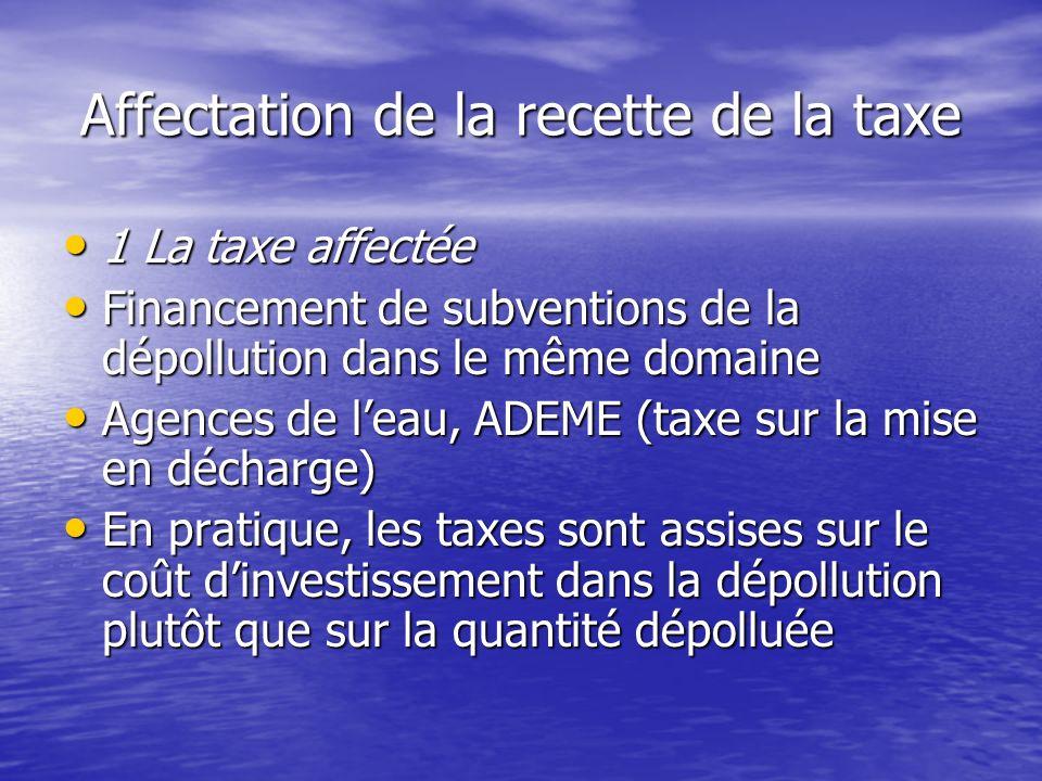 Affectation de la recette de la taxe