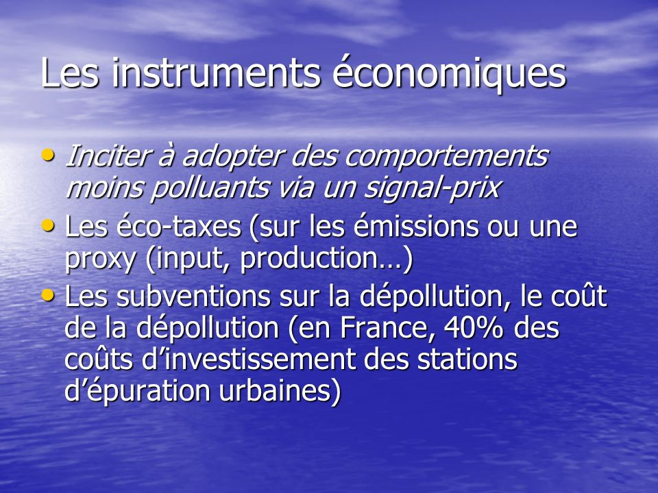 Les instruments économiques
