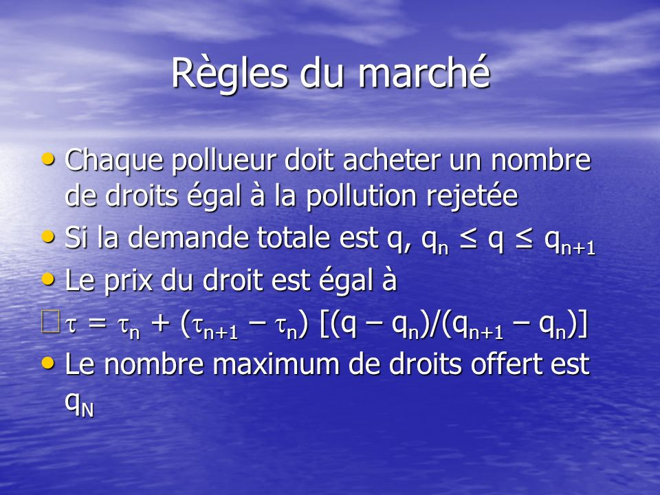 Règles du marché Chaque pollueur doit acheter un nombre de droits égal à la pollution rejetée. Si la demande totale est q, qn ≤ q ≤ qn+1.