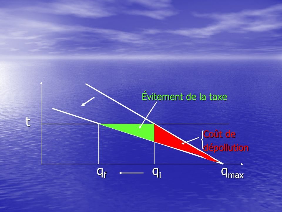 Évitement de la taxe t Coût de dépollution qf qi qmax